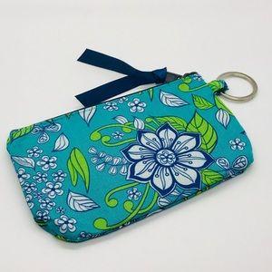 Handbags - 2/$10 Teal & Green Floral Keychain Wallet